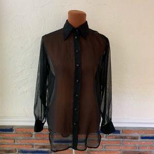 Vtg Black Sheer Button Down Blouse Shirt